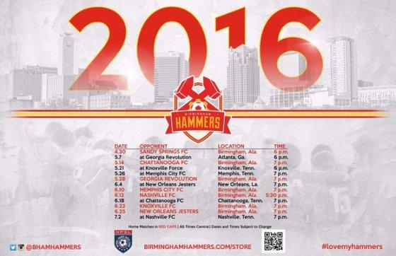 Hammers2016Schedule